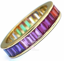 925 Sterling Silver Yellow Gold Pl. Gods Promise Rainbow Multi Color Cubic Zirconia Eternity Band Ring