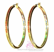 "Gods Promise 2"" Rainbow Cz Goldtone Hoop Earrings"