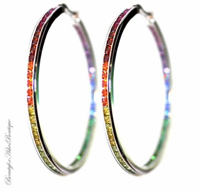 Gods Promise Over the Rainbow CZ Hoop Earrings