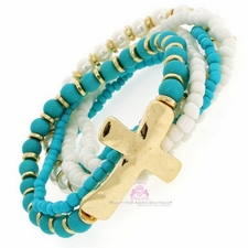 Gold Christian Turquoise Stretch Bracelet Cross Set