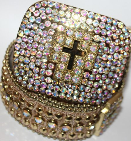 GOLD CROSS BELT BUCKLE AURORA BOREALIS CRYSTALS SM New w/Defect