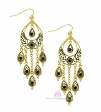 Gold Plated Black Crystal Peacock Feather Chandelier Earrings