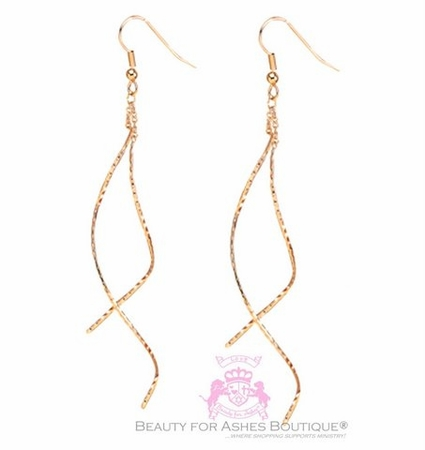 Gold Plated Swirl Hammered DangleTwist Curve Coil Earrings