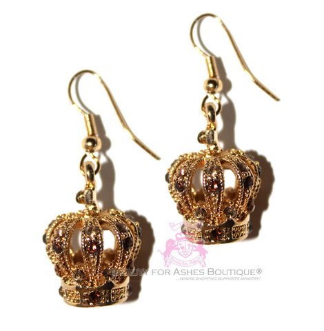 Gold Plated Topaz Crystal Crown Earrings - Dangle Style