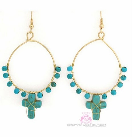 Goldtone Hoop Turquoise Cross Fashion Dangle Earrings
