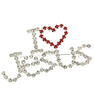 Goldtone Rhinestone Crystal Heart I Love Jesus Pin Brooch