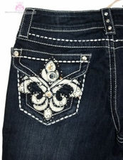 GRACE IN LA FLEUR DE LIS JEWELED DARK BLUE DENIM JEANS