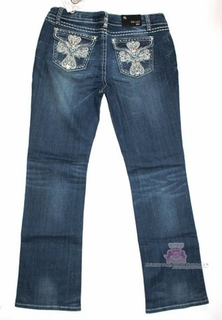 GRACE IN LA JEWELED CROSS BLING BLUE DENIM JEANS