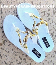 GRANDCO BEACH POOL WATERPROOF WHITE BEADED SANDALS 6