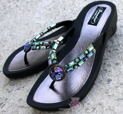 GRANDCO JEWELED BLACK BEAD FLIP FLOP BLING 26823E SANDALS