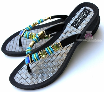 Grandco Palm Leaf Jeweled Black Beaded Flip Flop Sandals
