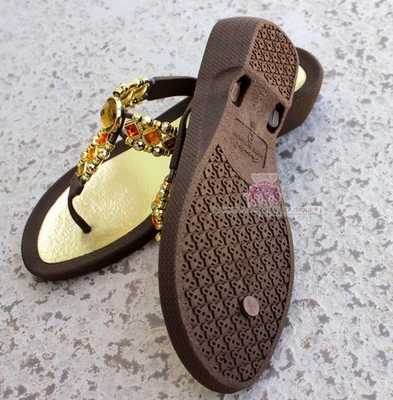 Grandco Sun Gold Topaz Brown Bohemian Jeweled Sandals Size 8