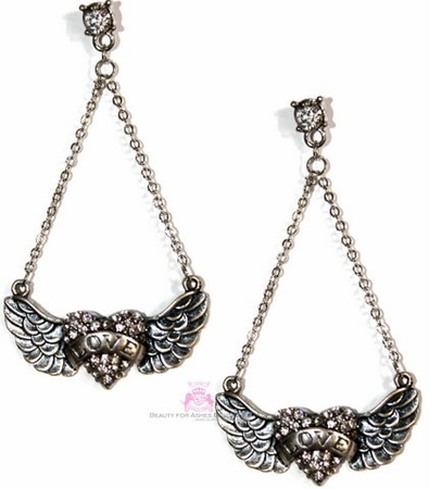 Heart Angel Wings Love Dangle Crystal Silvertone Earrings