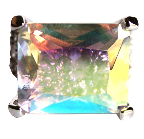 His Presence Aurora Borealis Rectangle Clear Cubic Zirconia Ring