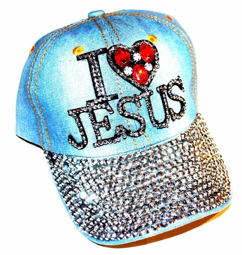 I Love Heart Jesus Rhinestone Bling Light Denim Cap Hat