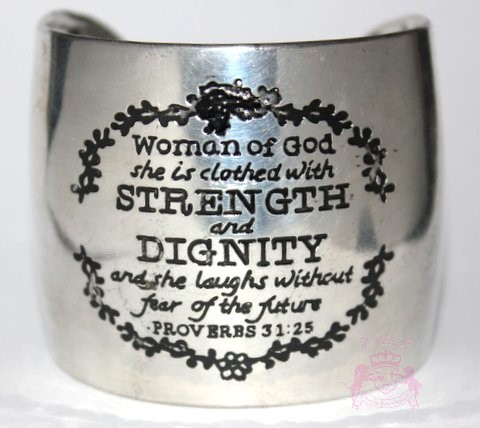 Imperfect Silvertone Woman of God Strength and Dignity Proverbs 31 Cuff Bracelet