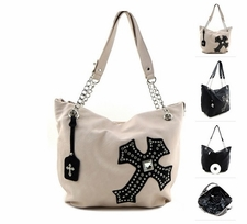 Ivory Western Cross Soft Faux Leather Purse Handbag