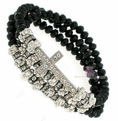 Jet Black Beaded Layered Wrap Stretch Silver Cross Bracelet