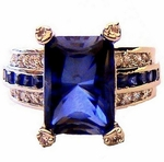 Sapphire Blue Cubic Zirconia Tabernacle Ring