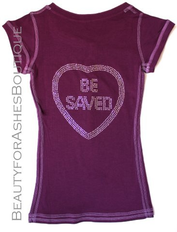 Juniors Choose Jesus Be Saved Henley Ab Rhinestone T-Shirt