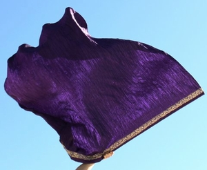 King of Kings - Gold Trim Purple Krinkle Heavy Worship Flag - Stick