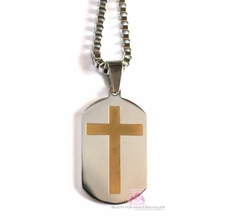 L MENS STAINLESS STEEL 14KGP CROSS DOG TAG NECKLACE 24""