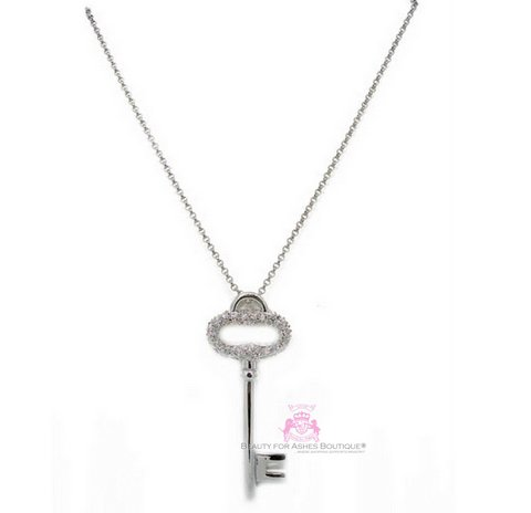 Ladies Girls Silvertone Clear Pave Cubic Zirconia Key Necklace
