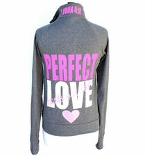 Ladies Perfect Love Casts out Fear Cadet Jacket - Pink/Grey