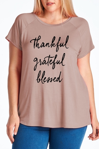Ladies Plus Size Thankful Grateful Blessed Mocha T-Shirt - Color Choice