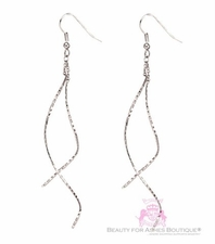 Light Silvertone Hammered Dangle Twist Silver Metal Earrings