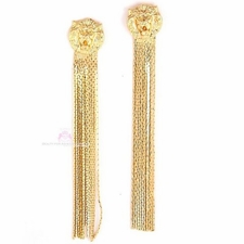 Lion of Judah Head Fringe Post Drop Dangle Earrings - Goldtone
