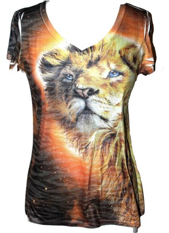Lion of Judah Ladies Burnout Short Sleeve T-Shirt