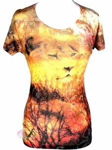 Lion of Judah Ladies Scrolled Filigree Burnout Short Sleeve T Shirt