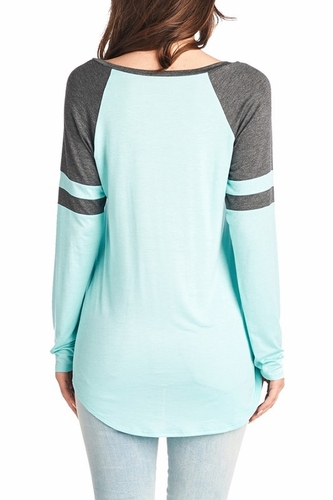Long Sleeve Women's Casual Jesus Heart Love Color Block Jersey Top