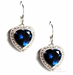 Love Heart for Jerusalem Sterling Silver Sapphire Blue Cz Cocktail Earrings