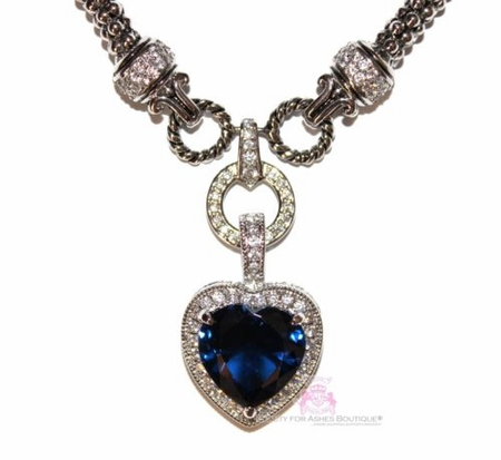 Love Heart for Jerusalem Sapphire Blue Cz Cocktail Necklace