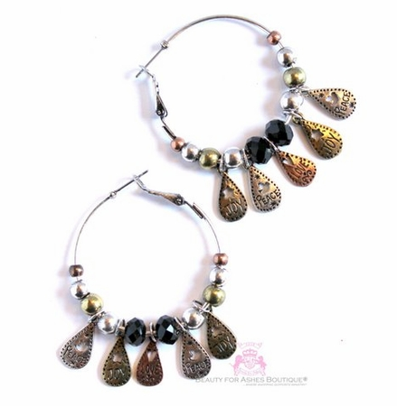 Love Joy Peace Tri-Tone Teardrop Charm Hoop Earrings
