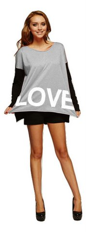 Love Long Sleeve Womens Grey & Black Top