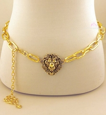 Magnificent Roaring Lion of Judah Womens Chain Link Belt - Gold