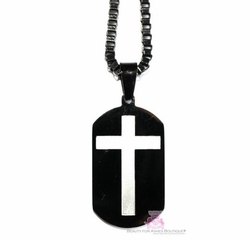 MENS BLACK GOLD PLATED STAINLESS CROSS DOG TAG NECKLACE