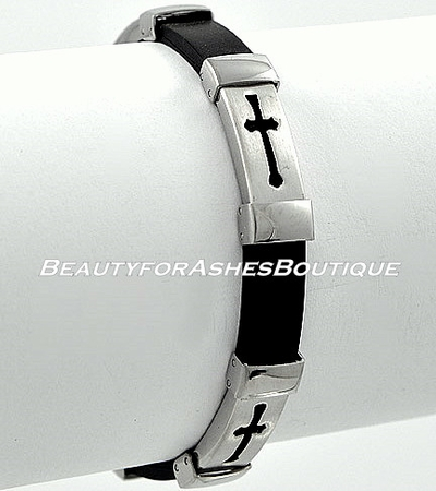MENS CHRIST STAINLESS STEEL CROSS BLACK RUBBER BRACELET
