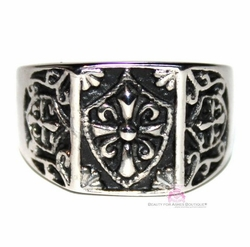 Mens Shield Cross Stainless Steel Rustic Ring