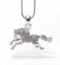 Miniature Arabian Horse Clear Crystal Necklace