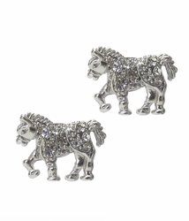 Miniature Trotting Horse Clear Crystal Silver Tone Stud Earrings