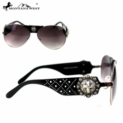 Montana West Avaiator Spiritual Cross Sunglasses in Black