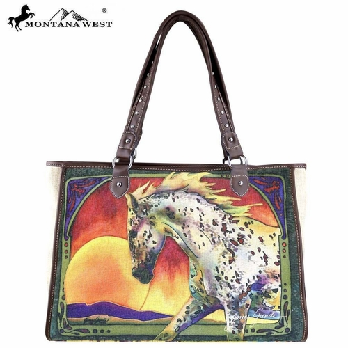 Montana West Handbag Multi Colored Horse Art Janene Grende