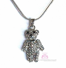 MOVING PARTS! TEDDY BEAR CLEAR CRYSTAL PENDANT NECKLACE