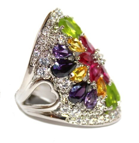 Multi Citrine Rose Amethyst Clear Cz Flower Bloom Ring
