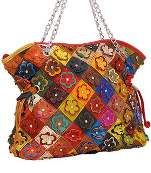 Multi Color Flower Crystal Chain Handle Handbag