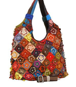Multi Color Flower Leather Hobo Handbag Purse